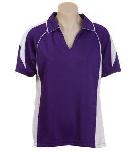 Olympikool Ladies Polo- Purple-White