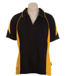 Olympikool Ladies Polo-Black-Gold