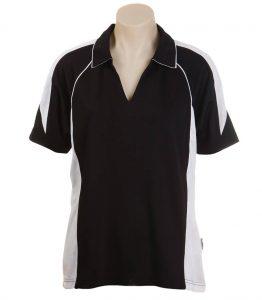 Olympikool Ladies Polo-Black-White