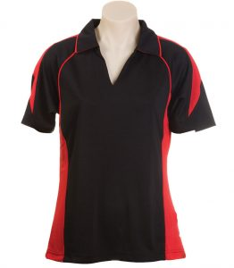 Olympikool Ladies Polo-Black-Red