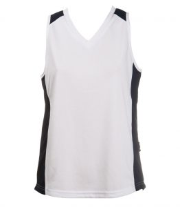Ladies Singlets - White-navy