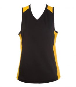 Ladies Singlets Black-Gold