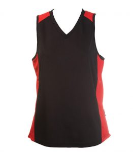 Ladies Singlets Black-Red
