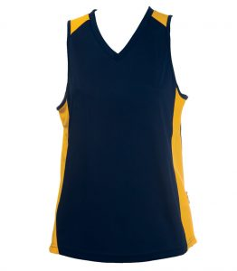 Ladies Singlets Navy-yellow
