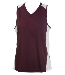 Ladies Singlets Burgundy-White