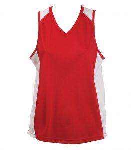 Ladies Singlets Red-White