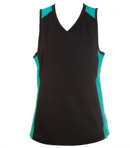 Ladies Singlets Black-Emarald